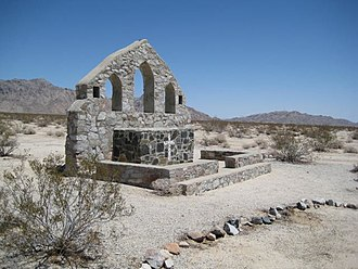 Desert Training Center - Catholic Chapel at Camp Iron Mountain, WW2 era. Camp Iron Mountain is the best-preserved divisional camp today. Now preserved in Mojave Trails National Monument.