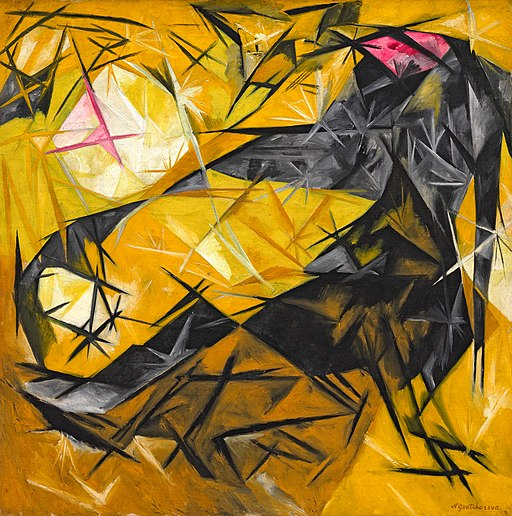 Cats (rayist percep. in rose, black, and yellow) (Goncharova, 1913)