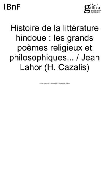 File:Cazalis - Histoire de la littérature hindoue.djvu