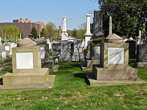 Aquia Creek sandstone - Benjamin Latrobe-designed cenotaphs for Senators John C. Calhoun (left) and Henry Clay in the Congressional Cemetery