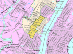 Census Bureau map o Union City, New Jersey