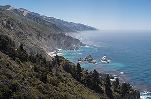 California State Route 1 - Looking south, showing the McWay Rocks, about 16 miles south of Big Sur