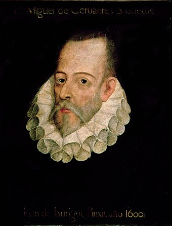 Miguel de Cervantes, considered by many the greatest author of Spanish literature, and author of Don Quixote, widely considered the first modern European novel. Cervantes Jauregui.jpg