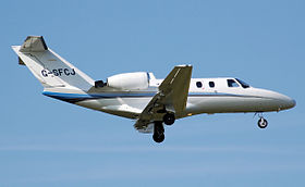 Un Cessna 525 CitationJet.
