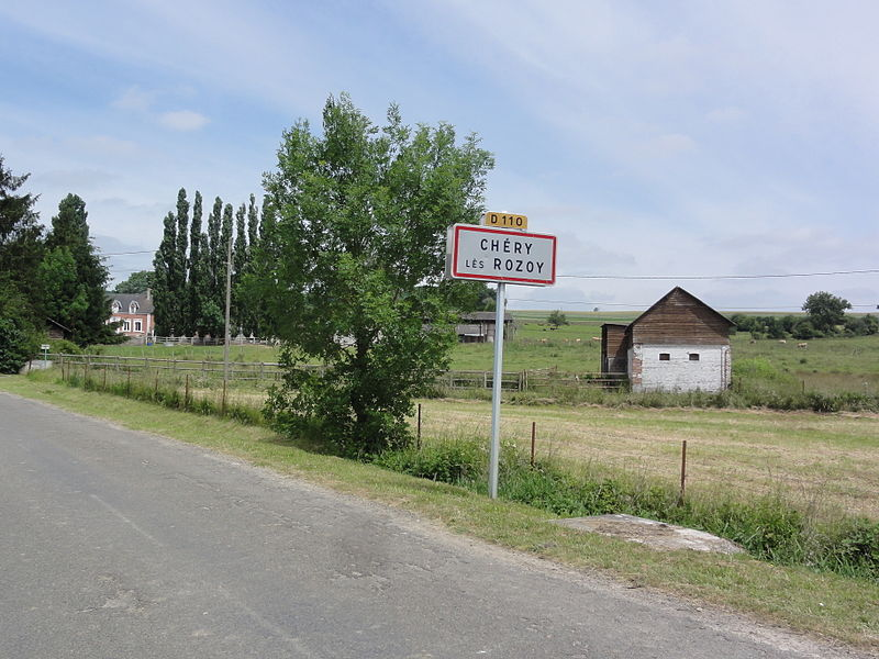 Chéry-lès-Rozoy (Aisne) city limit sign