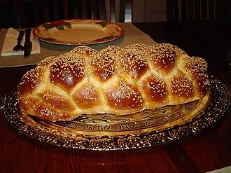 Challah - Image: Challah Bread Six Braid 1