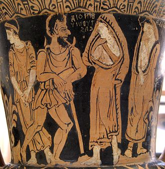 Charun - A typical depiction of Charun. From an Etruscan red-figure calyx-crater. End of the 4th century BC-beginning of the 3rd century BC.