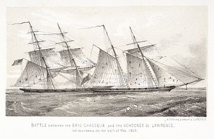 Chasseur, one of the most famous American privateers of the War of 1812, capturing HMS St Lawrence Chasseur vs St Lawrence.jpg
