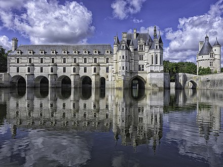 The Chateau de Chenonceau, nowadays part of a UNESCO World Heritage Site, was built in the early 16th century. Chateau de Chenonceau.jpg