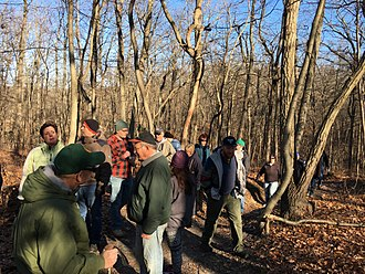 First Day Hikes - A guide checks on the progress of his group during a First Day Hike in Cheesequake State Park in New Jersey in 2017
