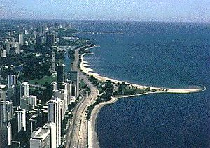 Cuspate foreland - A cuspate foreland in Chicago, stabilised by vegetation