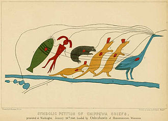 Ojibwe writing systems - This pictographic 1849 petition was presented to the President of the United States by Chief Oshkaabewis and other Ojibwe leaders from the headwaters of the Wisconsin River and complains of broken promises in the 1837 and 1842 treaties.The tribes are represented by their totems, martens, bear, man and catfish, led by the crane. Lines running from the heart and eye of each animal to the heart and eye of the crane denote that they are all of one mind; and a line runs from the eye of the crane to the lakes, shown in the  «map» in the lower left-hand corner.