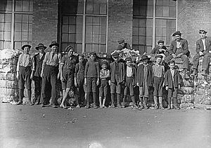 Lancaster, South Carolina - Group of boys working in Lancaster Cotton Mills. November 1908. Photographed by Lewis Hine.