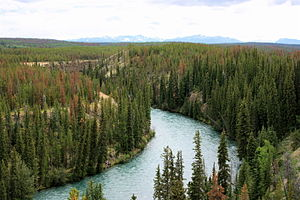Chilcotin Group - Chilko River and cliffs made of lava flows and ash beds