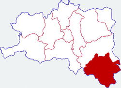 Location in Hanzhong