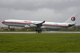 China Eastern Airbus A340 in Malta Zammit.jpg