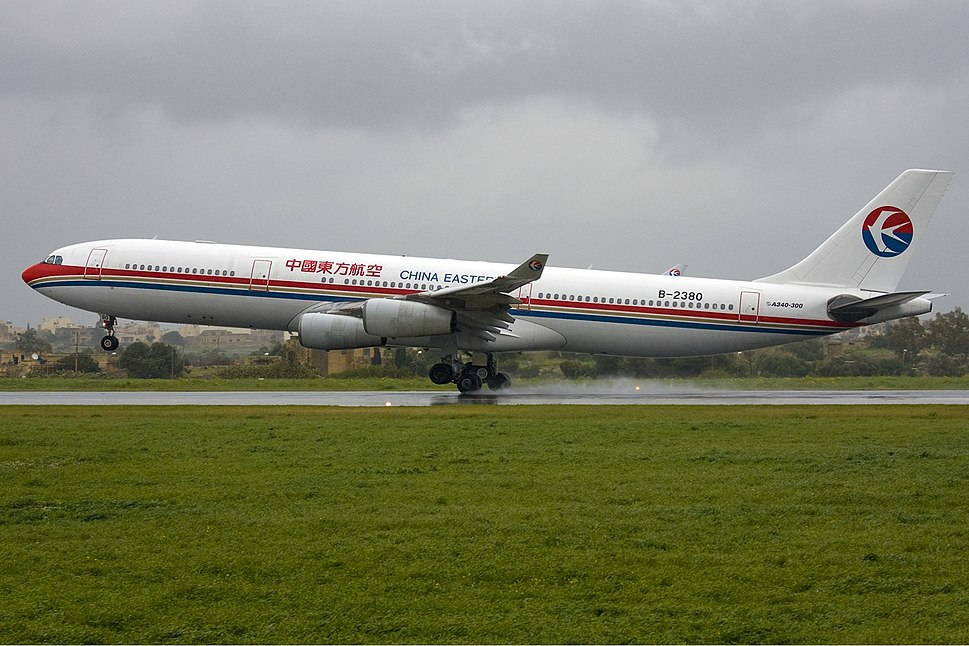 China Eastern Airbus A340 in Malta Zammit