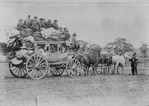 Chinese on stagecoach to goldfields