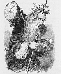 Engraving of Father Christmas 1848