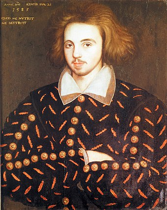 The Marlowe portrait, often claimed to be Christopher Marlowe, playwright Christopher Marlowe.jpg