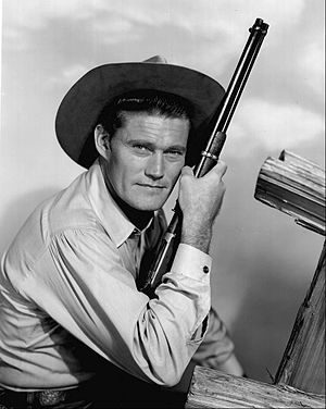 Lucas McCain - Chuck Connors as Lucas McCain in a 1962 publicity shot for The Rifleman
