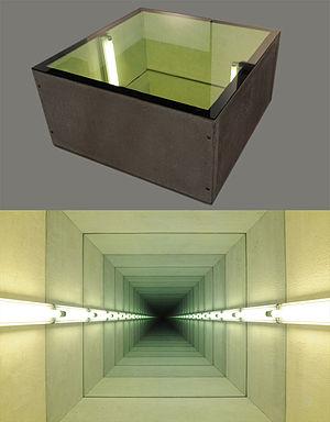 """Chul Hyun Ahn - Chul Hyun Ahn, """"Tunnel IV,"""" 2011 (two views), cast concrete, lights, mirrors, ed. of 3, 20x40x40 inches"""