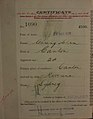 Chung Shin Auckland Chinese poll tax certificate butts Certificate issued at Auckland.jpg
