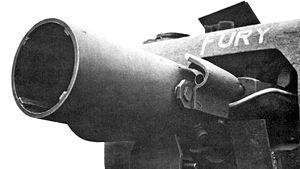 1st Assault Brigade Royal Engineers - Close-up of an AVRE's Petard Mortar.