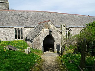 Lanteglos-by-Fowey - St Wyllow's Church (note the lantern cross near the porch)