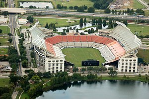 An aerial view of the Citrus Bowl looking South