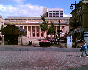 Politics of Dundee - Dundee City Square  Caird Hall is the building at the back of the square  The building on the right is Dundee City Chambers, where the city council meets