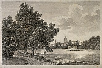 Roffe engraving families of London - Image: City of Oxford; a glimpse of the city from the meadows. Etch Wellcome V0014235