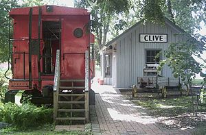 Clive, Iowa - Restored railroad depot in Clive