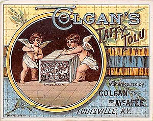 Chewing gum - An image of a Colgan's Taffy Tolu Chewing Gum chromolithograph advertisement circa 1910
