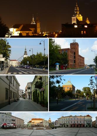 Piotrków Trybunalski - Night view of Old Town, Słowacki Street, Piotrkowska Manufaktura, street in Old Town, Royal Castle, Market Square