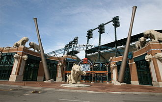 Detroit Tigers - The entrance sign of Comerica Park