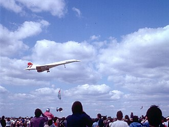 Concorde performing a low-level fly-by at an air show in August 1981 Concorde at Baginton - geograph.org.uk - 156846.jpg