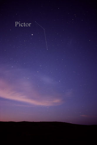 Pictor - A photograph showing constellation Pictor as it can be seen by the naked eye (lines have been added that join up its three main stars). The bright star seen near Pictor is Canopus.
