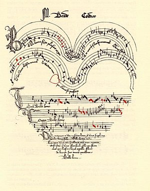 Baude Cordier - Cordier's rondeau about love, Belle, Bonne, Sage, is in a heart shape, with red notes indicating rhythmic alterations.