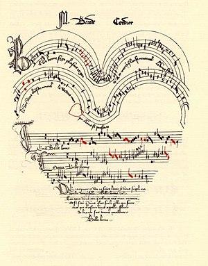"""Score of Baude Cordier's chanson """"Belle, ..."""