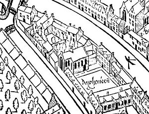"Athenaeum Illustre of Amsterdam - Detail of Cornelis Anthonisz' 1544 woodcut of Amsterdam, showing the ""Agnieten"" with the chapel."