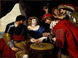 "Gambling - ""Players and courtesans under a tent"" by Cornelis de Vos"