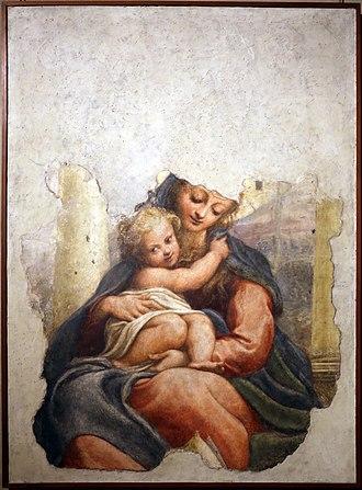 Madonna of the Stairs (Correggio) - Image: Correggio, madonna della scala, 1523 ca. 01