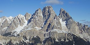 English: The southern side of Mount Cristallo ...