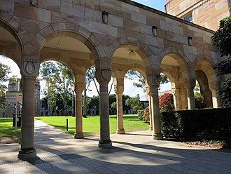 Great Court, University of Queensland - Covered walkway at the southern edge of the Great Court, 2015