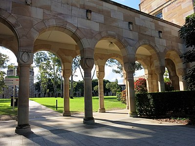 The covered walkway at the southern edge of the Great Court, a heritage-listed university colonnade at the University of Queensland in St Lucia, a suburb of Brisbane.