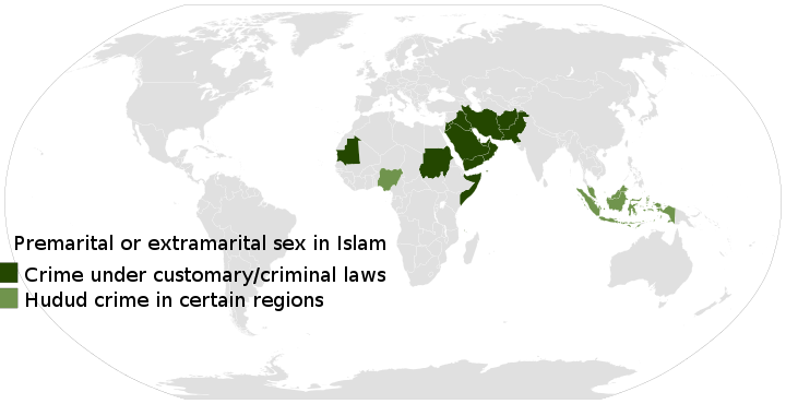 Muslim-majority regions with zina laws against consensual premarital and extramarital sex.[79][80][page needed]