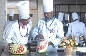 Cooking school - Culinary work at the School of Hotel Management at Vels University in Chennai, India