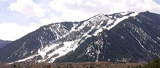 Aspen Mountain (Colorado) - Aspen Mountain, seen from the northwest showing the lower ski runs of the Aspen Mountain ski area
