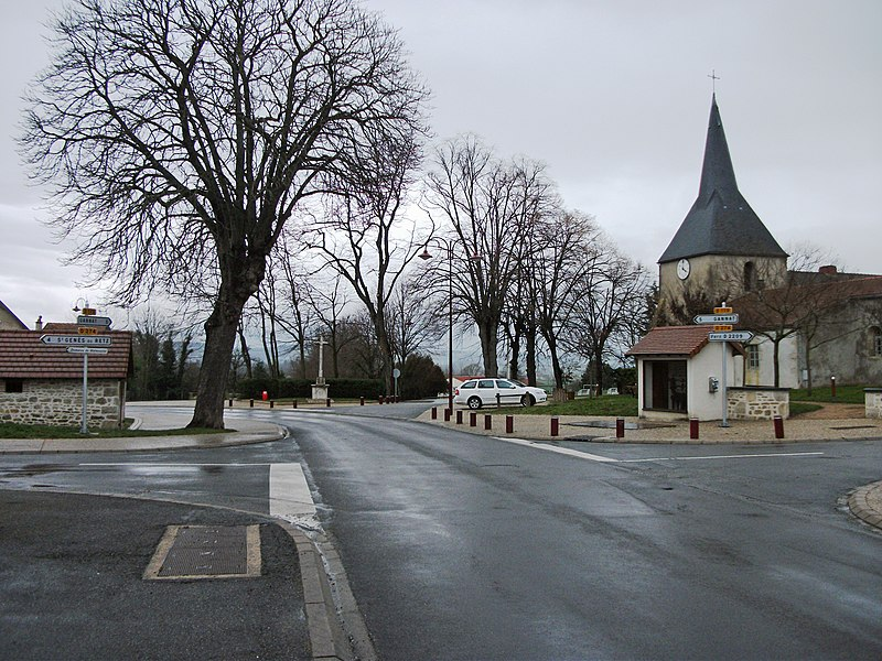 Departmental road 119 towards Gannat and church (or abbey?) on the second ground in Charmes (Allier) [10085]